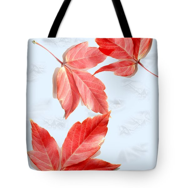 Red Leaves On Blue Texture Tote Bag