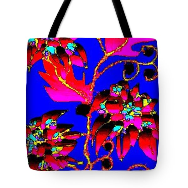 Tote Bag featuring the digital art Red Leaves Pink Flowers by Rae Chichilnitsky