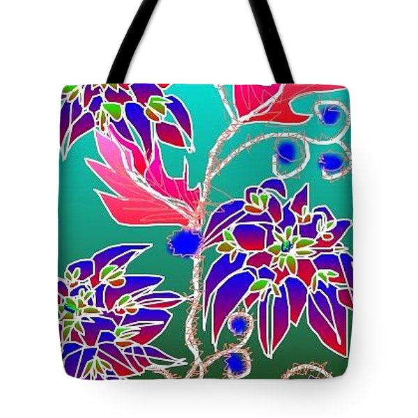 Tote Bag featuring the digital art Red Leaves Purple Flowers On Aqua by Rae Chichilnitsky