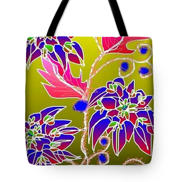 Tote Bag featuring the digital art Red Leaves Purple Flowers by Rae Chichilnitsky
