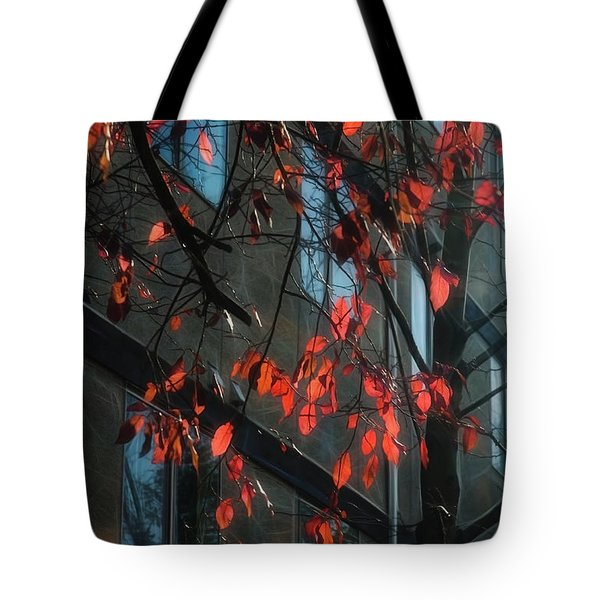 Tote Bag featuring the photograph Red Leaves by Yulia Kazansky