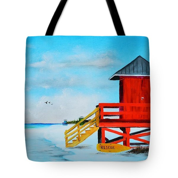 Red Life Guard Shack On The Key Tote Bag