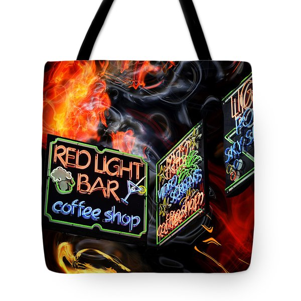 Red Light Bar Tote Bag by John Rizzuto