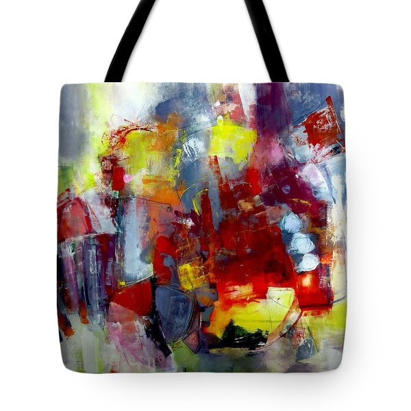 Tote Bag featuring the painting Red Light by Katie Black