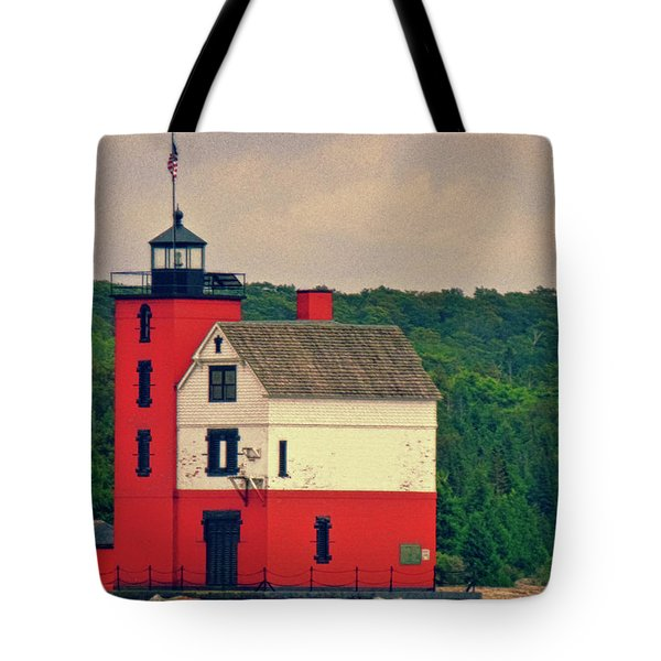 Red Lighthouse Hdr Tote Bag