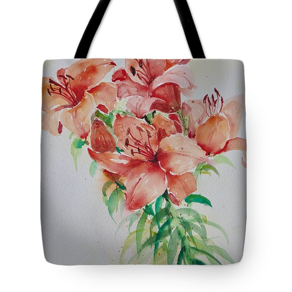 Red Lilies Tote Bag by Alexandra Maria Ethlyn Cheshire