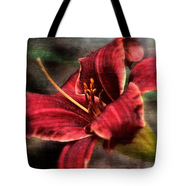 Red Lilly Tote Bag by Michaela Preston
