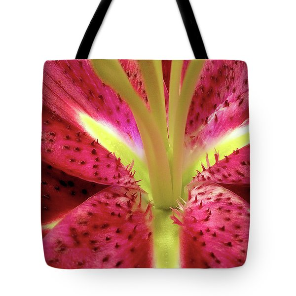 Red Lily Closeup Tote Bag