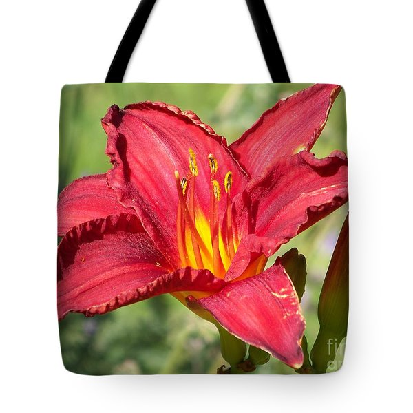 Tote Bag featuring the photograph Red Flower by Eunice Miller