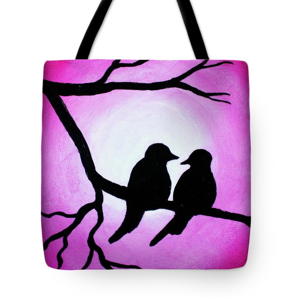 Tote Bag featuring the painting Red Love Birds Silhouette by Bob Baker
