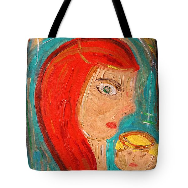 Tote Bag featuring the painting Red Madonna by Mary Carol Williams