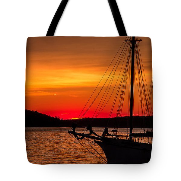 Red Maine Sunrise Tote Bag by Steven Bateson