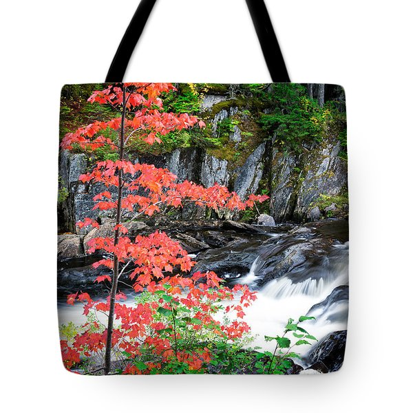Tote Bag featuring the photograph Red Maple Gulf Hagas Me. by Michael Hubley