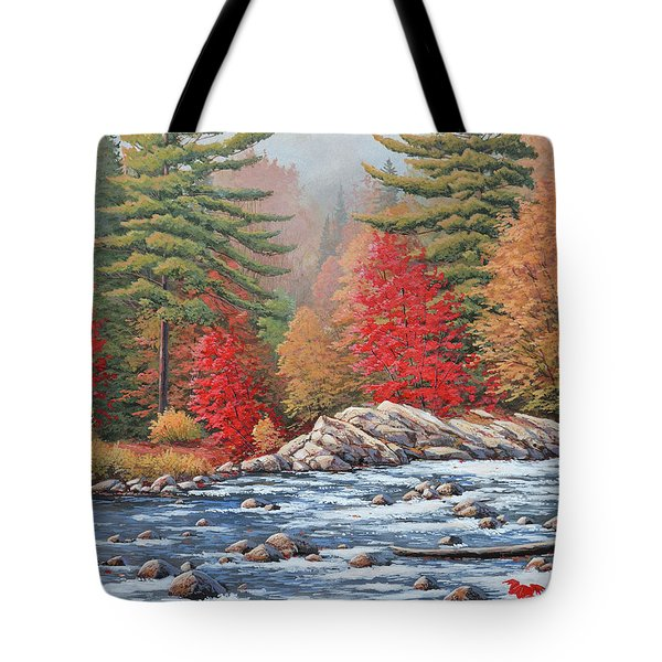 Red Maples, White Water Tote Bag