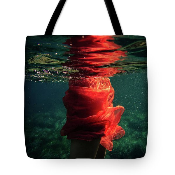 Red Mermaid Tote Bag