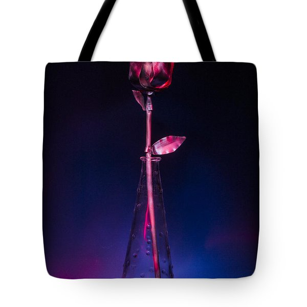 Red Metal Rose Tote Bag