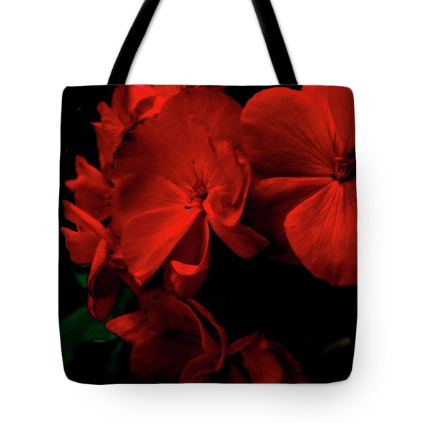 Red  Midnight Magic Flowers Tote Bag