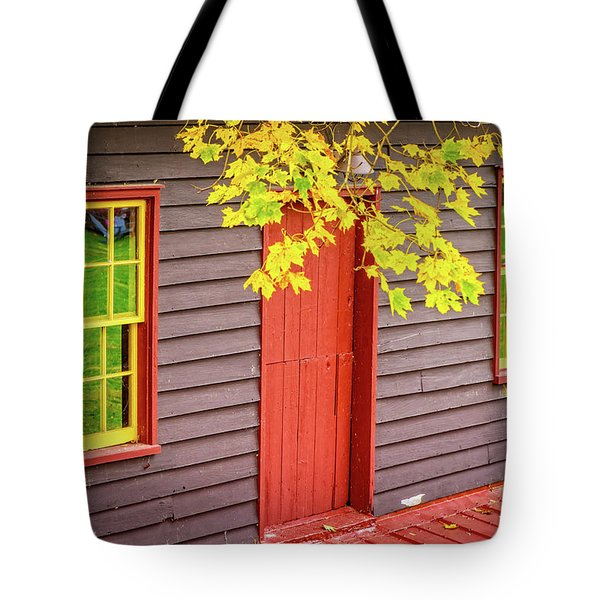 Red Mill Door In Fall Tote Bag