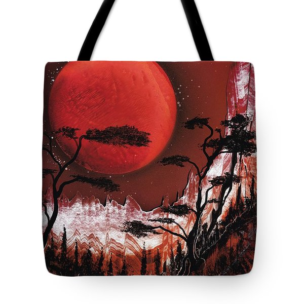 Tote Bag featuring the painting Red Moon by Jason Girard