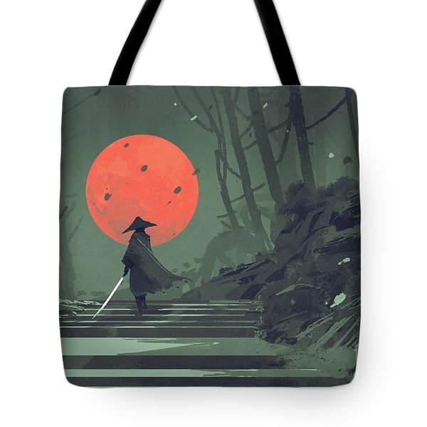 Tote Bag featuring the painting Red Moon Night by Tithi Luadthong