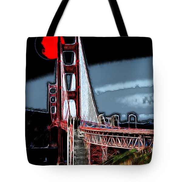 Red Moon Over The Golden Gate Bridge Tote Bag by Wingsdomain Art and Photography
