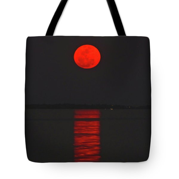 Red Moon Rising  Tote Bag
