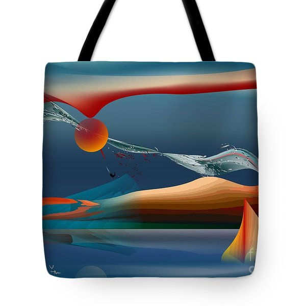 Tote Bag featuring the digital art Red Moon Sign by Leo Symon