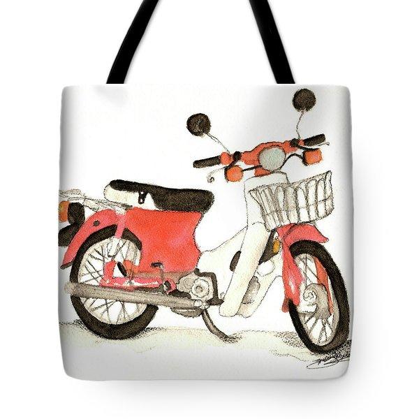 Red Motor Bike Tote Bag