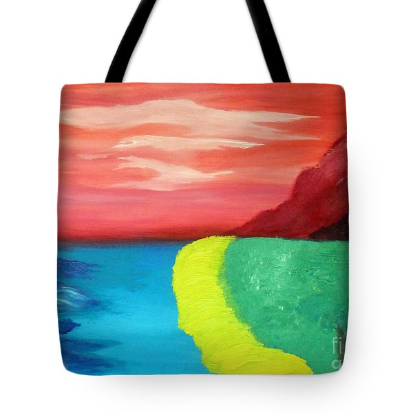 Red Mountain By The Sea Tote Bag