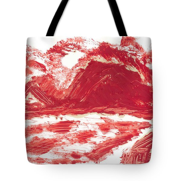 Tote Bag featuring the painting Red Mountain by Don Koester