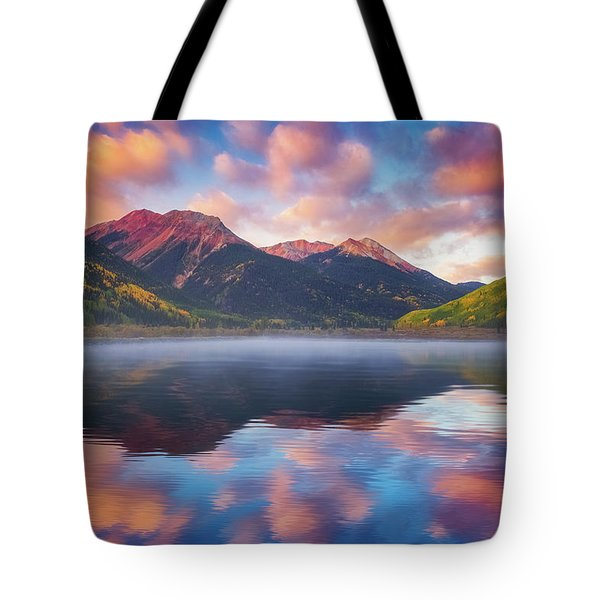 Tote Bag featuring the photograph Red Mountain Reflection by Darren White