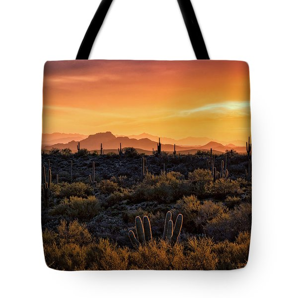 Tote Bag featuring the photograph Red Mountain Sunset Part Two  by Saija Lehtonen