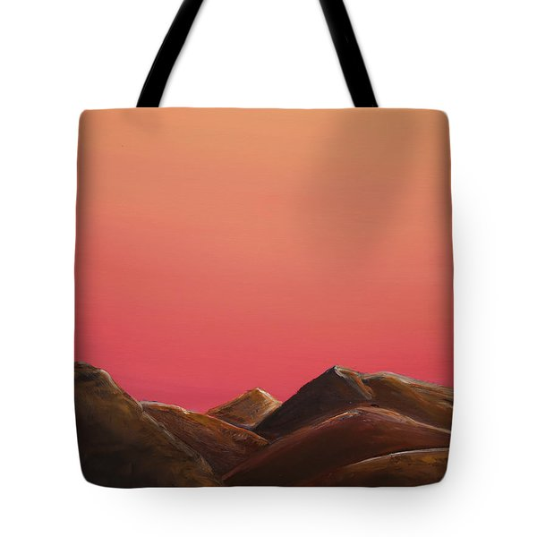Tote Bag featuring the painting Red Mountains by Elizabeth Lock