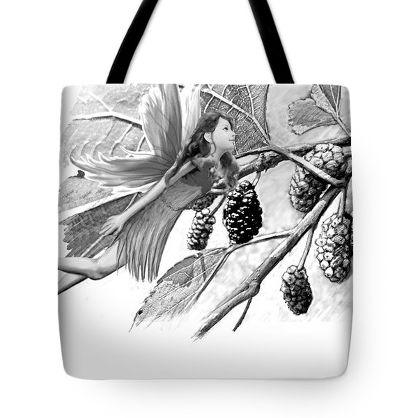 Red Mulberry Tree Fairy B And W Tote Bag
