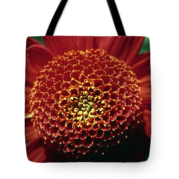 Red Mum Center Tote Bag by Sally Weigand