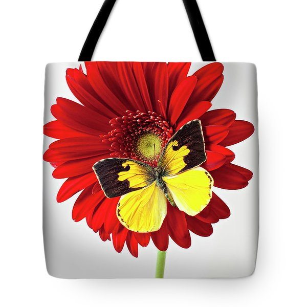Red Mum With Dogface Butterfly Tote Bag by Garry Gay