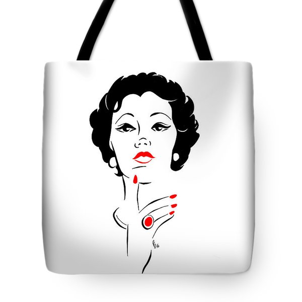 Tote Bag featuring the digital art Red Nails Red Lips by Cindy Garber Iverson