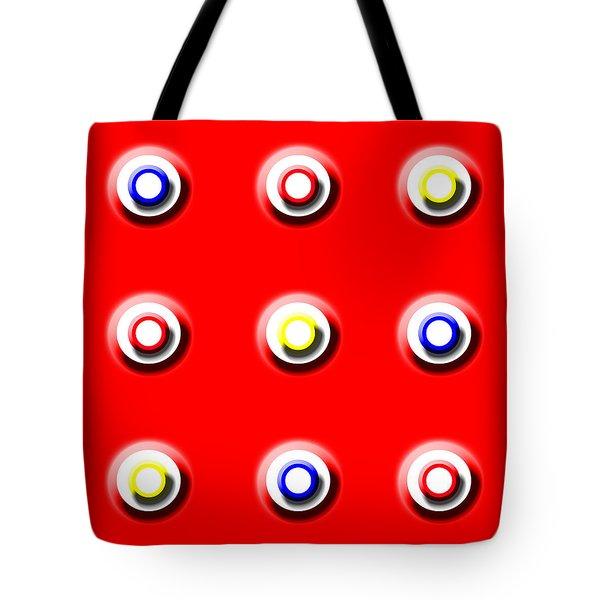 Red Nine Squared Tote Bag
