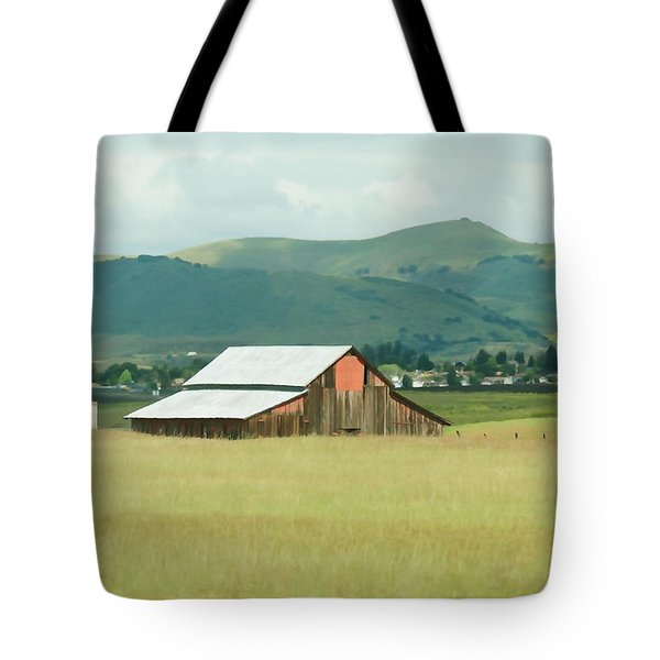 Tote Bag featuring the photograph Red Nipomo Barn by Art Block Collections