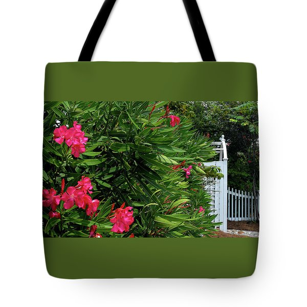Tote Bag featuring the photograph Red Oleander Arbor by Marie Hicks