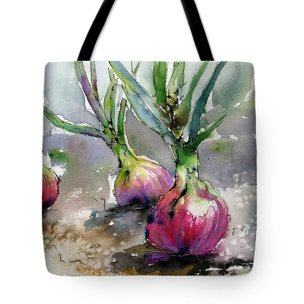 Tote Bag featuring the painting Red Onions Watercolors by Ginette Callaway