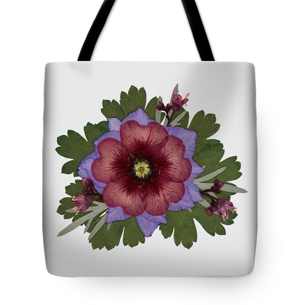 Red Open Faced Potentilla Pressed Flower Arrangement Tote Bag