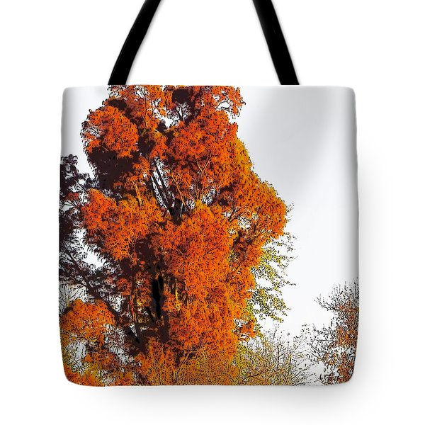 Red-orange Fall Tree Tote Bag