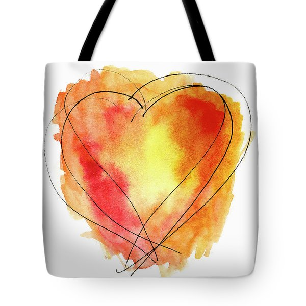 Tote Bag featuring the photograph Red Orange Yellow Watercolor And Ink Heart by Carol Leigh