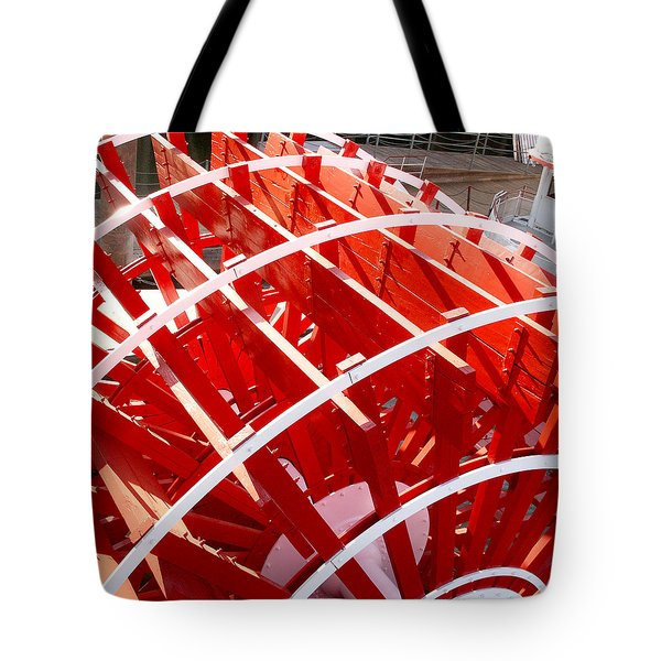 Tote Bag featuring the photograph Red Paddle Wheel by Art Block Collections