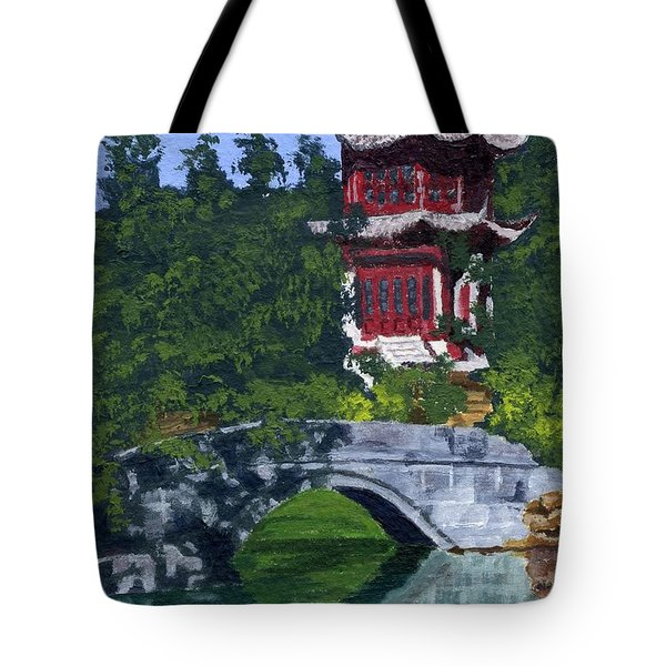 Tote Bag featuring the painting Red Pagoda by Lynne Reichhart