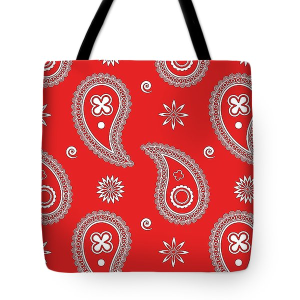 Tote Bag featuring the digital art Red Paisley by Becky Herrera