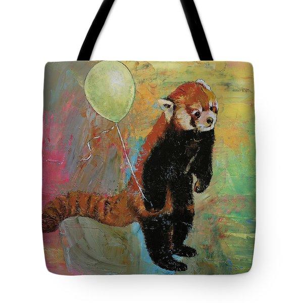 Red Panda Balloon Tote Bag by Michael Creese