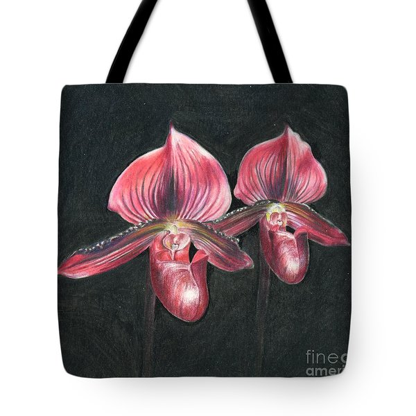 Red Paphiopedilums Tote Bag