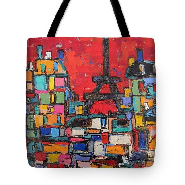 Red Paris Eiffel  Tote Bag